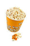 Popcorn bucket and tickets. Popcorn bucket with two tickets on white background Stock Photos