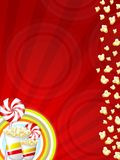Popcorn and candies. Illustration of popcorns and sweet candies with red stripes Stock Photo