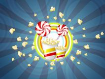Popcorn and candies. Illustration of popcorns and candies with red stripes Stock Image
