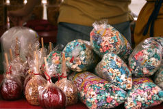 Popcorn and Candy Apples. Candy apples and popcorn Royalty Free Stock Images