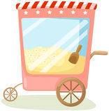 Popcorn cart. Illustration of isolated popcorn cart on white background Stock Photos