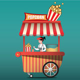 Popcorn cart carnival store and fun festival popcorn cart. Candy corn container seller cart. Popcorn cart snack food market Stock Photo