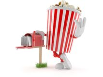 Popcorn character with mailbox. Isolated on white background royalty free illustration