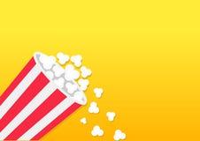 Popcorn che cade Contenitore a strisce di secchio Icona del cinema di film nello stile piano di progettazione Schioccare del cere illustrazione di stock