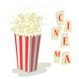 Popcorn cinema. Illustration of a bucket of delicious popcorn - cinema icon isolated Royalty Free Stock Images