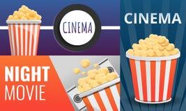 Popcorn cinema banner set, cartoon style vector illustration