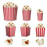 Popcorn cinema box mockup set, realistic style. Popcorn cinema box striped mockup set. Realistic illustration of 9 popcorn cinema box striped mockups for web stock illustration