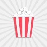Popcorn. Cinema icon in flat design style. Isolated. White starburst background. Stock Image
