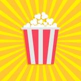 Popcorn. Cinema movie icon in flat design style. Starburst background Stock Photo