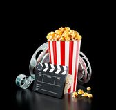 Unusual cinema concept 3D illustration. Popcorn, cinema reel, disposable cup, clapper board and tickets at black background. Concept cinema theater 3D Royalty Free Stock Photos