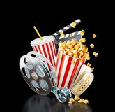 Unusual cinema concept 3D illustration. Popcorn, cinema reel, disposable cup, clapper board and tickets at black background. Concept cinema theater 3D Royalty Free Stock Photo