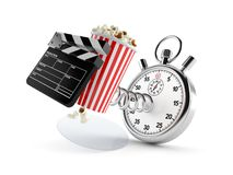 Popcorn and clapboard with stopwatch. Isolated on white background. 3d illustration stock illustration