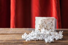 Popcorn In Classic Cinema Serving Box On Wood Background With Re Royalty Free Stock Images