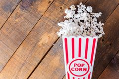 Popcorn In Classic Cinema Serving Box On Wood Background From To Royalty Free Stock Images
