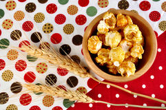 Popcorn close up with ear barley on background Stock Photo