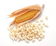 Popcorn and cob Royalty Free Stock Photo