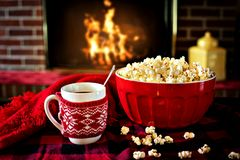 Popcorn and Coffee Stock Images