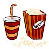 Popcorn and coke cup Royalty Free Stock Images