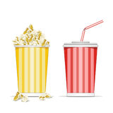 Popcorn and coke cup Royalty Free Stock Image