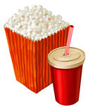 Popcorn and cola. Popcorn and a big cup of cola or other beverage vector illustration