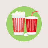 Popcorn and cola flat design vector Stock Image