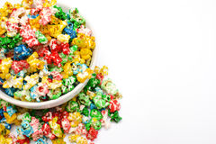 Popcorn. Colored popcorn on the white background isolated Royalty Free Stock Photo