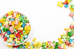 Popcorn. Colored popcorn on the white background isolated Royalty Free Stock Photos