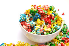 Popcorn. Colored popcorn on the white background isolated Stock Photo