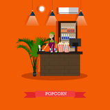 Popcorn concept vector illustration in flat style. Vector illustration of cinema waiting hall and cafe with salesgirl. Popcorn concept design element in flat Stock Photo