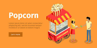 Popcorn Conceptual Isometric Vector Web Banner Royalty Free Stock Photo