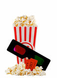 Popcorn container with 3D glasses Stock Images