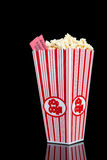 Popcorn container on black Stock Images