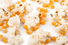 Popcorn and corn seeds Royalty Free Stock Images