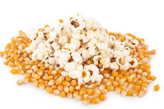 Popcorn and corn seeds Royalty Free Stock Photography