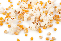 Popcorn and corn seeds Stock Images