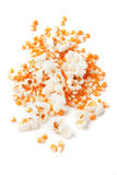 Popcorn and corn  on white Stock Photography