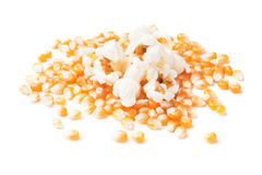 Popcorn and corn  on white Stock Images