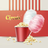 Popcorn with cotton candy. Vector big red bowl of popcorn with pink, white cotton candy and circus sign vector illustration