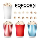 Popcorn Cup Set Vector. Realistic Classic Cup Full Of Popcorn. For Cinema, Movie, Film, Food, Theater Design. Isolated Stock Photography
