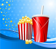 Popcorn and cup of soda on film background Stock Photos