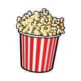 Popcorn del cinema in un grande secchio a strisce rosso e bianco illustrazione vettoriale