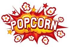 Popcorn design. Popcorn illustration, popcorn symbol, popcorn explosion royalty free illustration