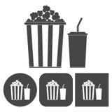 Popcorn design - vector icons set. Vector icon Royalty Free Stock Photos