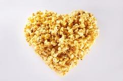 Popcorn di figura del cuore fotografia stock libera da diritti