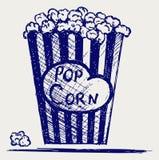 Popcorn die binnen de verpakking exploderen vector illustratie