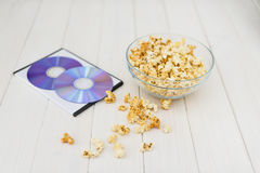 Popcorn and disks and 3D glasses Stock Photography