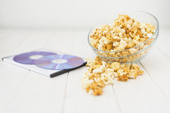 Popcorn and disks and 3D glasses Stock Photos