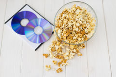 Popcorn and disks and 3D glasses Royalty Free Stock Image