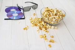 Popcorn and disks and 3D glasses Royalty Free Stock Photos