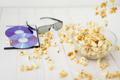 Popcorn and disks and 3D glasses Royalty Free Stock Photography